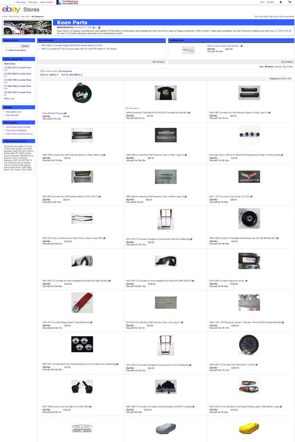 Keen Parts ebay page