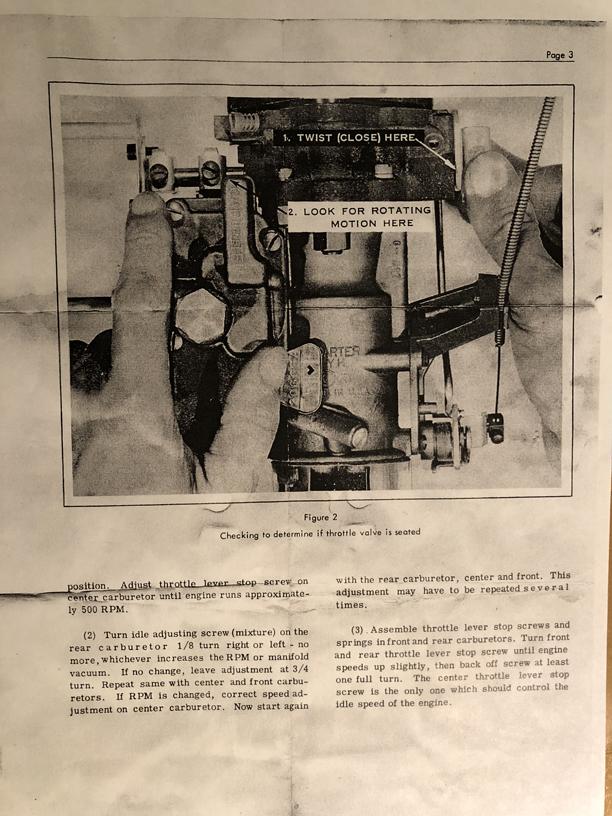 Carter Carburetor Technical Service Bulletin