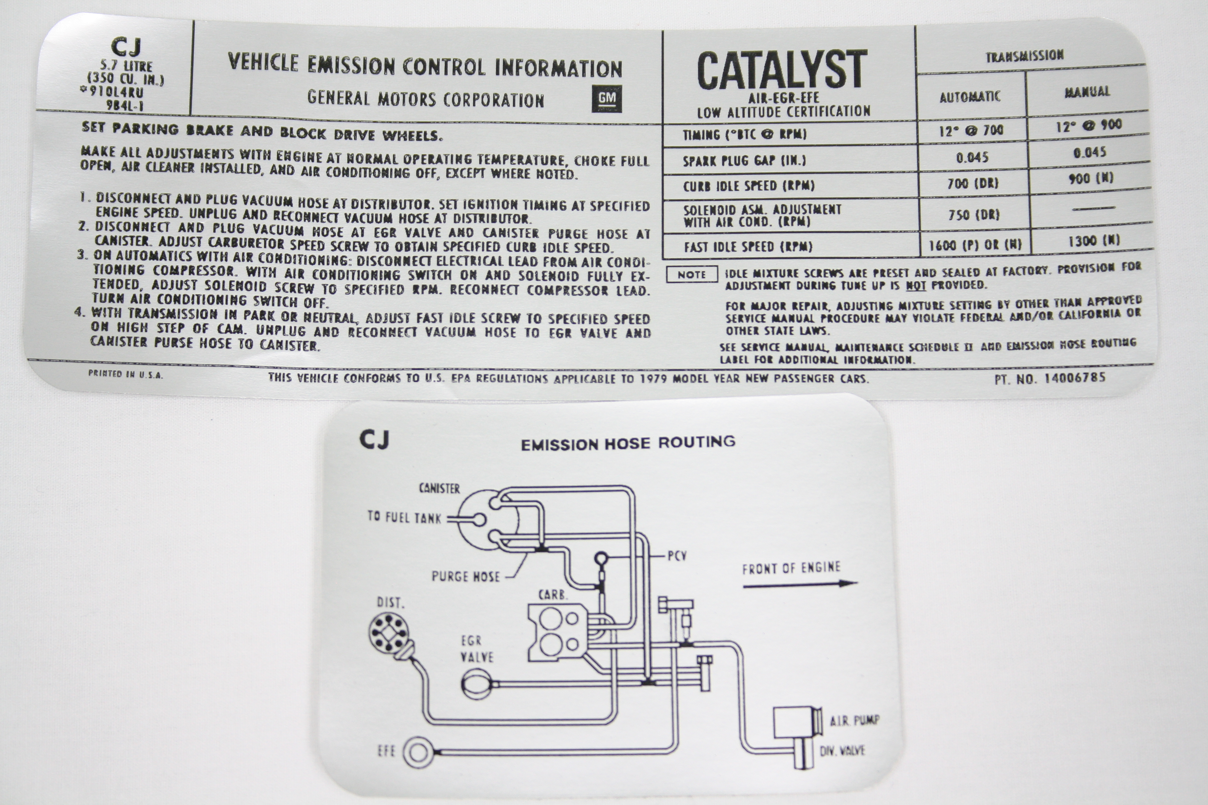 Keen Corvette Parts Diagrams Ar9 Crossover Wiring Diagram 1979 Emission Decal Automatic Manual Transmission 195 Hp Code Cj 14006785