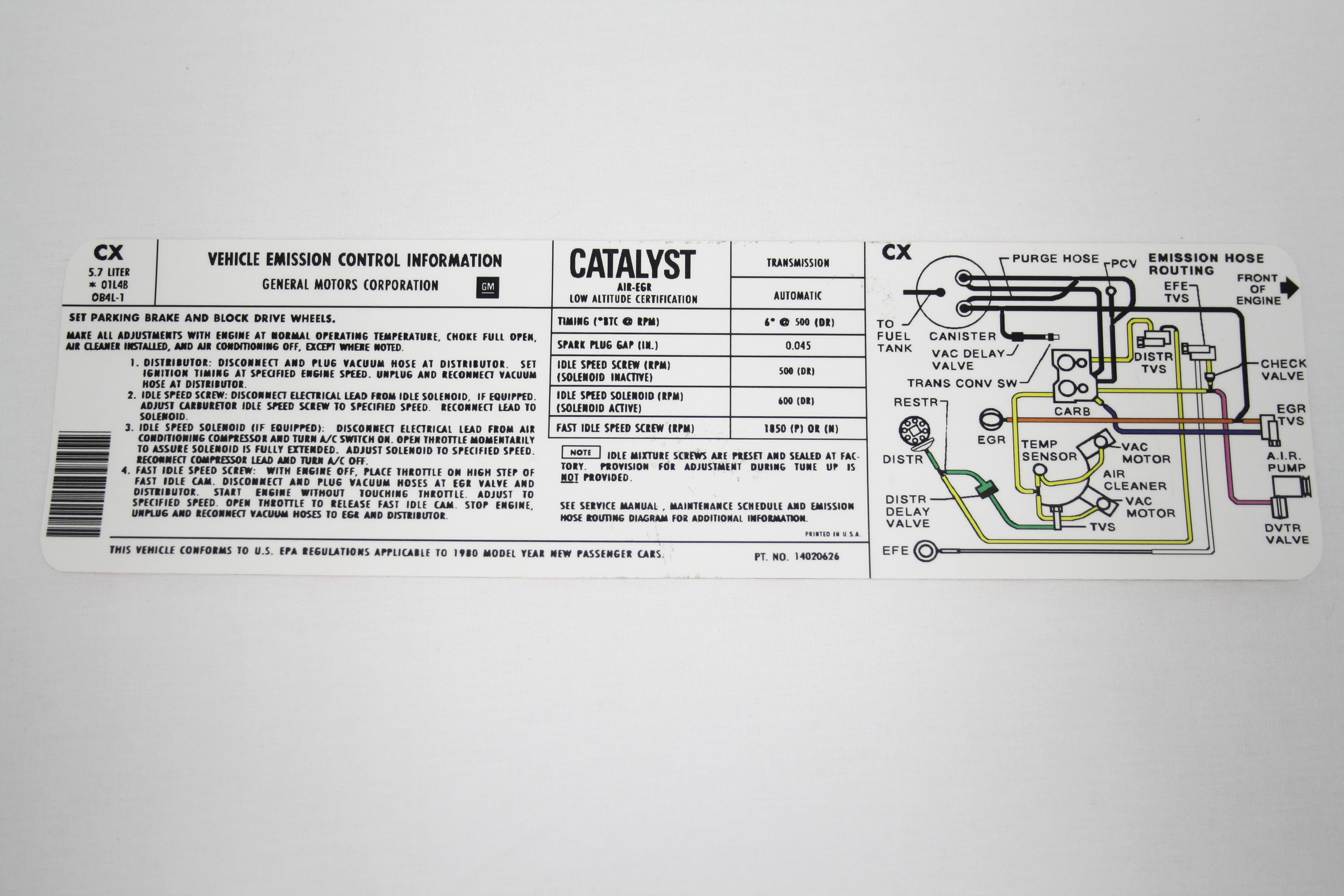 Keen Corvette Parts Diagrams Ar9 Crossover Wiring Diagram 1980 Emission Decal L48 350 Automatic Transmission