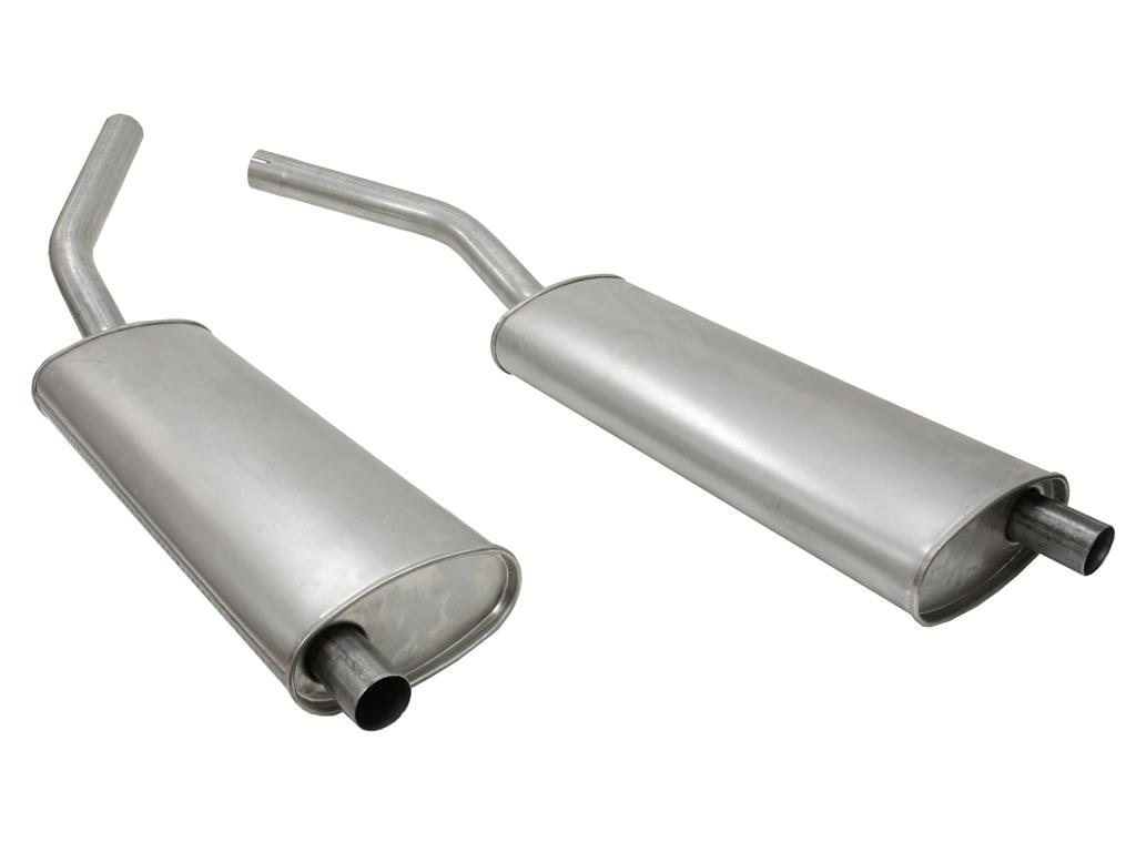 1956-1962 Corvette Oval Muffler - Pair With Welded Adapter