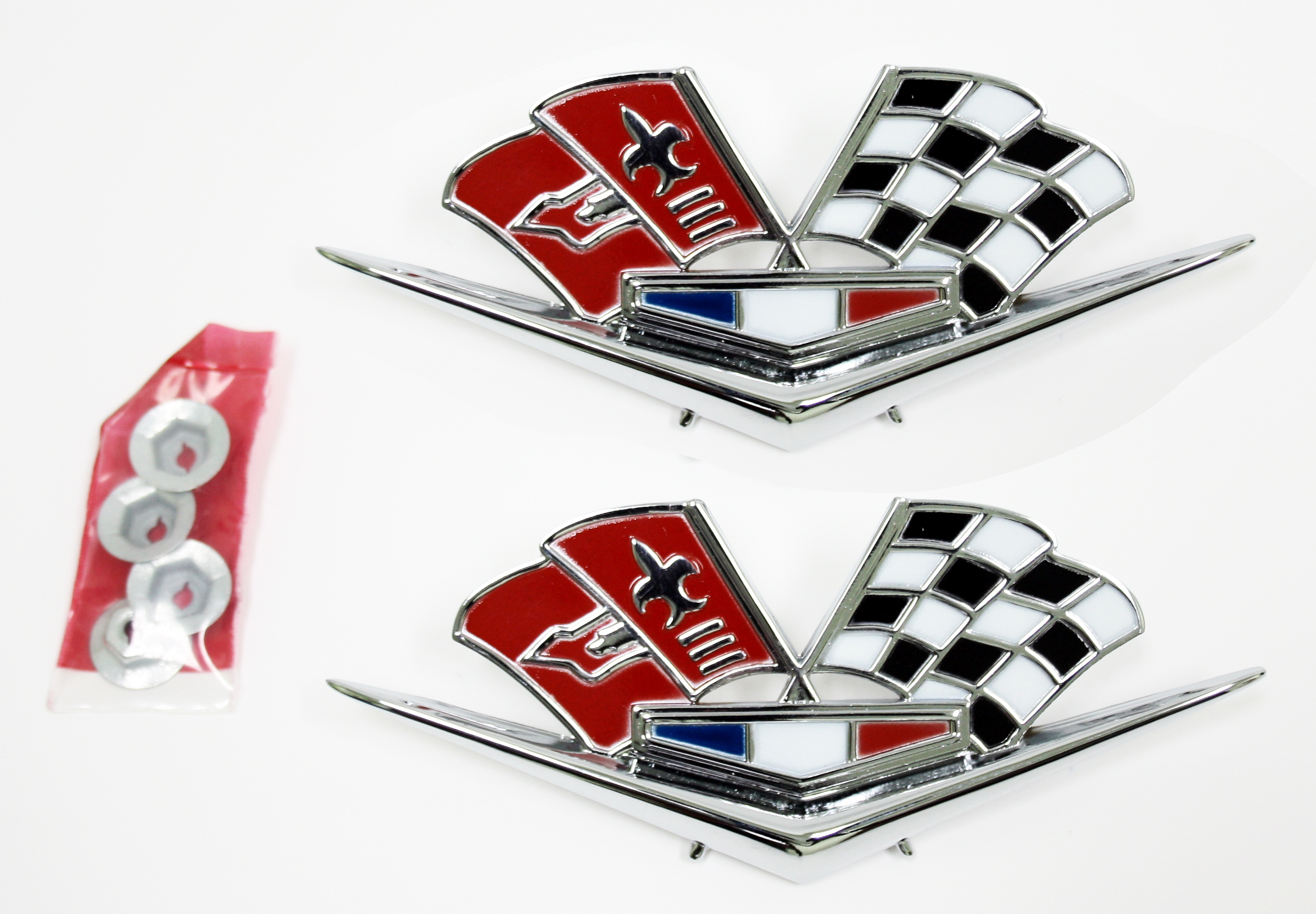 Corvette Fender Side Flag Emblem - Pair With Fasteners