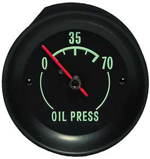 1968-1971 Corvette Oil Gauge With Green Letters