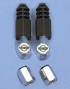 1984-1996 Corvette C4 Valve Stem Cap Set Anti- Theft Aluminum With Logo 84-96